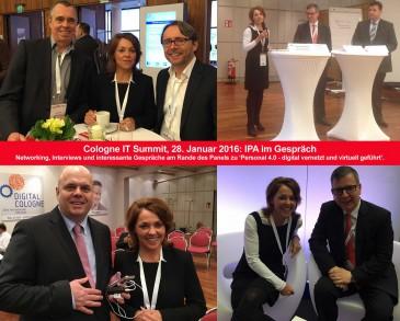 So war der Cologne IT Summit 2016: Ursula Vranken, IPA-Institut Geschäftsführerin, bei anregenden Gesprächen und im Panel Personal 4.0; Foto: © M. Troyer